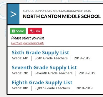 part of the TeacherList website that shows the links for each grade's supply list