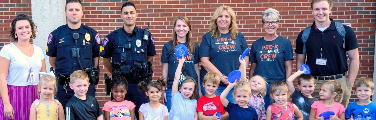 Police officers with preschool class