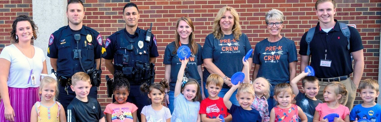 Two police officers with preschool class