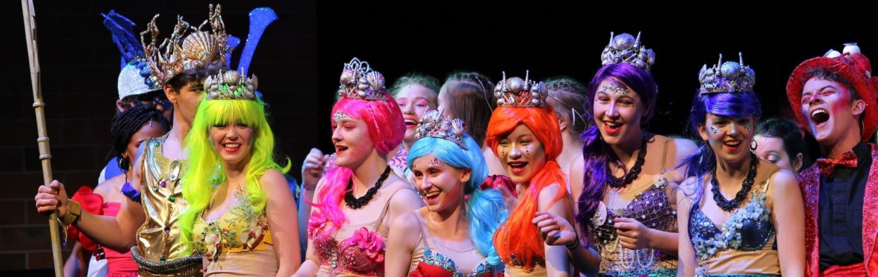 Mermaids in costume for The Little Mermaid