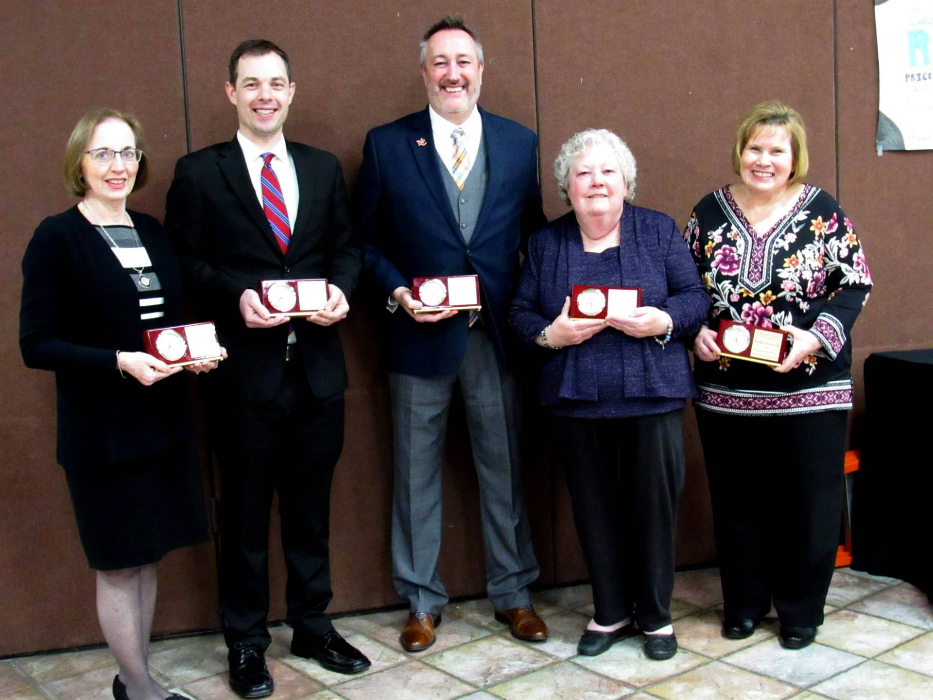 Three women and two men who received the Endowment Awards