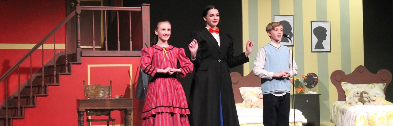 Mary Poppins with two children
