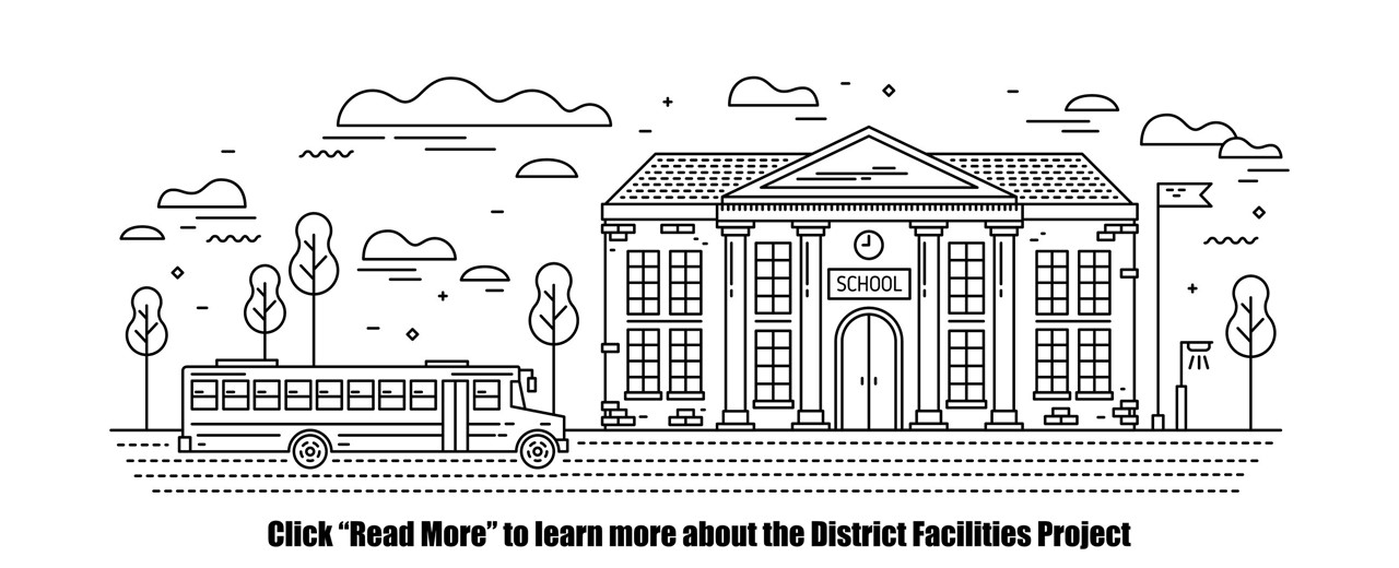 Black and white drawing of school building